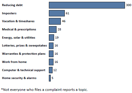Graph of Do Not Call complaints in Puerto Rico by topic in the current fiscal year. The topic with the most complaints was reducing debt with 300 complaints, followed by imposters with 61 complaints, followed by vacation and timeshares with 46 complaints. Note: not everyone who files a complaint reports a topic.