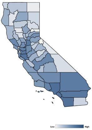 Map of California counties indicating relative number of complaints from low to high. See attached CSV file for complaint data by jurisdiction.