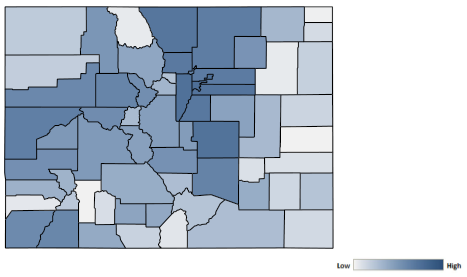 Map of Colorado counties indicating relative number of complaints from low to high. See attached CSV file for complaint data by jurisdiction.