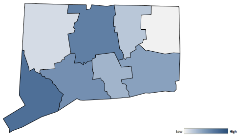 Map of Connecticut counties indicating relative number of complaints from low to high. See attached CSV file for complaint data by jurisdiction.