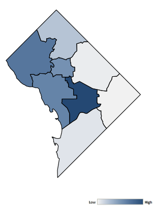 Map of District of Columbia counties indicating relative number of complaints from low to high. See attached CSV file for complaint data by jurisdiction.