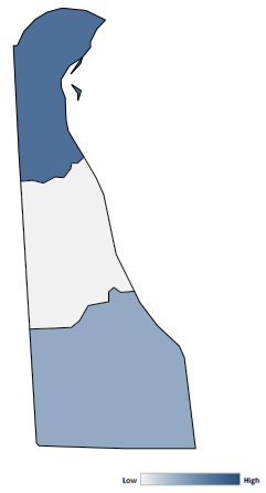 Map of Delaware counties indicating relative number of complaints from low to high. See attached CSV file for complaint data by jurisdiction.