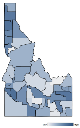 Map of Idaho counties indicating relative number of complaints from low to high. See attached CSV file for complaint data by jurisdiction.