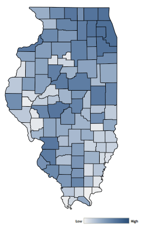 Map of Illinois counties indicating relative number of complaints from low to high. See attached CSV file for complaint data by jurisdiction.