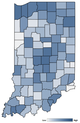 Map of Indiana counties indicating relative number of complaints from low to high. See attached CSV file for complaint data by jurisdiction.