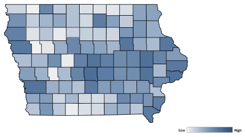 Map of Iowa counties indicating relative number of complaints from low to high. See attached CSV file for complaint data by jurisdiction.