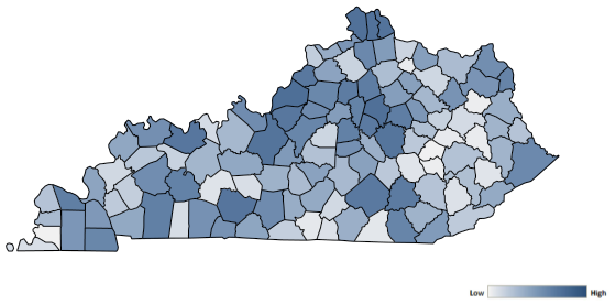 Map of Kentucky counties indicating relative number of complaints from low to high. See attached CSV file for complaint data by jurisdiction.