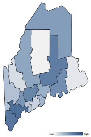 Map of Maine counties indicating relative number of complaints from low to high. See attached CSV file for complaint data by jurisdiction.