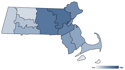 Map of Massachusetts counties indicating relative number of complaints from low to high. See attached CSV file for complaint data by jurisdiction.