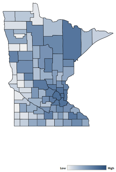 Map of Minnesota counties indicating relative number of complaints from low to high. See attached CSV file for complaint data by jurisdiction.