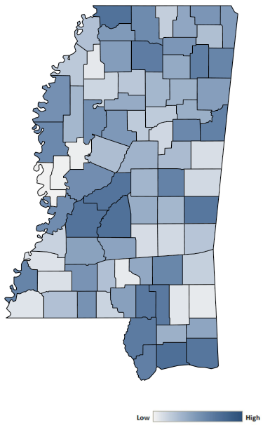 Map of Mississippi counties indicating relative number of complaints from low to high. See attached CSV file for complaint data by jurisdiction.