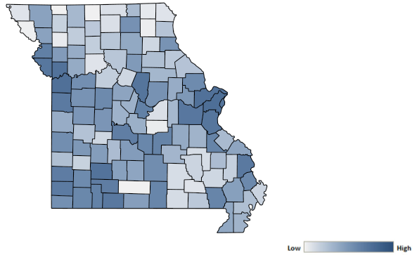 Map of Missouri counties indicating relative number of complaints from low to high. See attached CSV file for complaint data by jurisdiction.