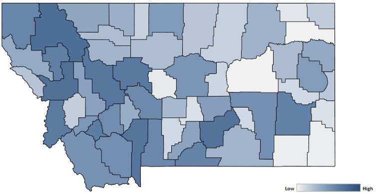 Map of Montana counties indicating relative number of complaints from low to high. See attached CSV file for complaint data by jurisdiction.