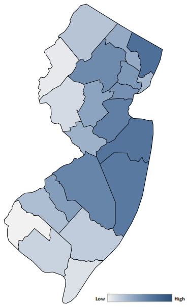 Map of New Jersey counties indicating relative number of complaints from low to high. See attached CSV file for complaint data by jurisdiction.