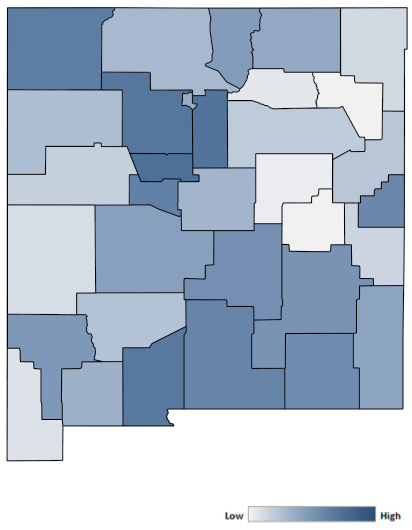Map of New Mexico counties indicating relative number of complaints from low to high. See attached CSV file for complaint data by jurisdiction.