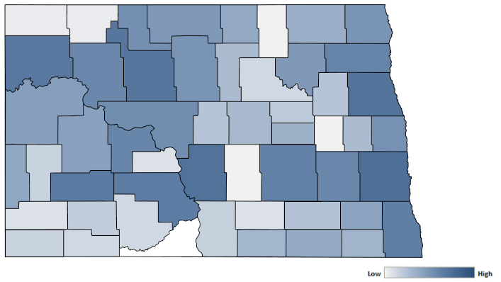 Map of North Dakota counties indicating relative number of complaints from low to high. See attached CSV file for complaint data by jurisdiction.