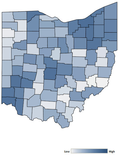 Map of Ohio counties indicating relative number of complaints from low to high. See attached CSV file for complaint data by jurisdiction.