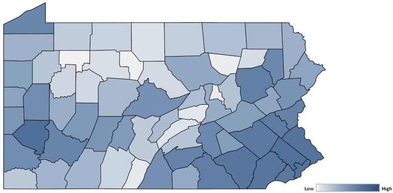 Map of Pennsylvania counties indicating relative number of complaints from low to high. See attached CSV file for complaint data by jurisdiction.