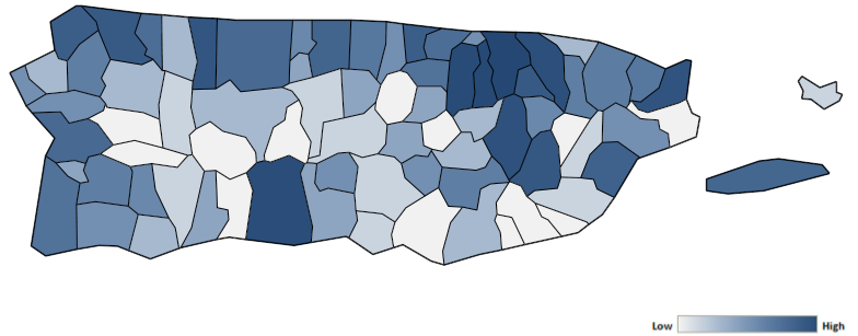 Map of Puerto Rico counties indicating relative number of complaints from low to high. See attached CSV file for complaint data by jurisdiction.