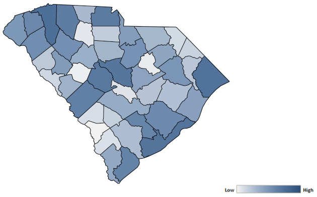 Map of South Carolina counties indicating relative number of complaints from low to high. See attached CSV file for complaint data by jurisdiction.