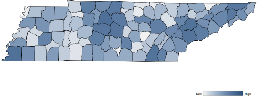 Map of Tennessee counties indicating relative number of complaints from low to high. See attached CSV file for complaint data by jurisdiction.