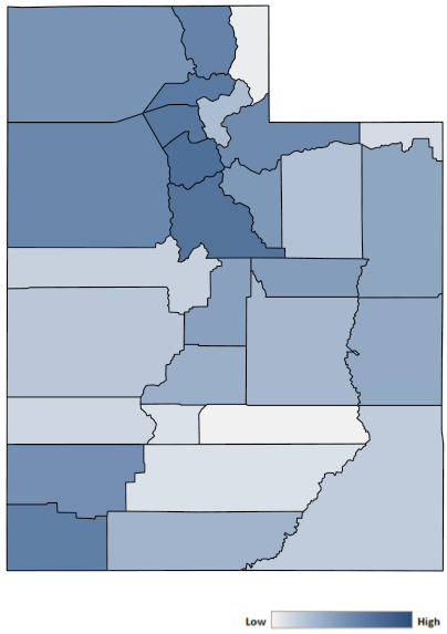 Map of Utah counties indicating relative number of complaints from low to high. See attached CSV file for complaint data by jurisdiction.