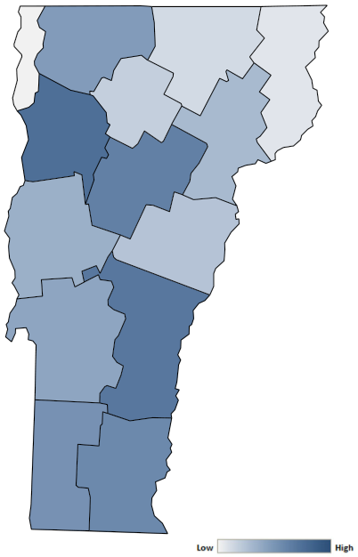 Map of Vermont counties indicating relative number of complaints from low to high. See attached CSV file for complaint data by jurisdiction.