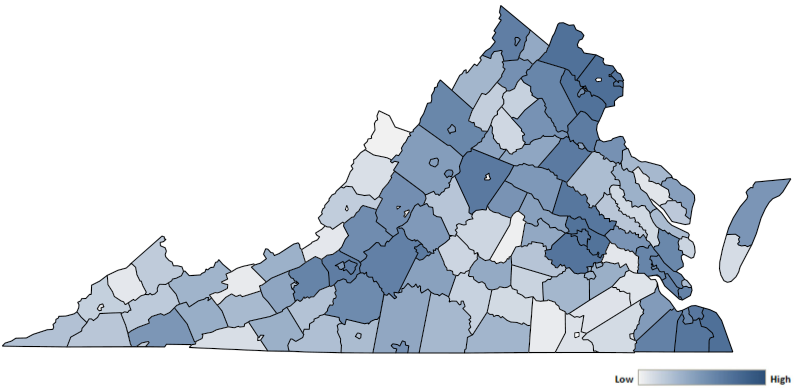 Map of Virginia counties indicating relative number of complaints from low to high. See attached CSV file for complaint data by jurisdiction.