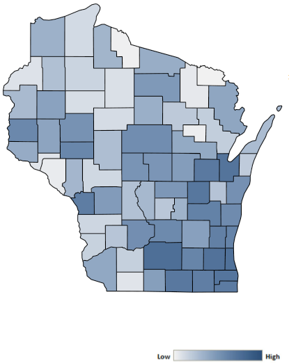 Map of Wisconsin counties indicating relative number of complaints from low to high. See attached CSV file for complaint data by jurisdiction.