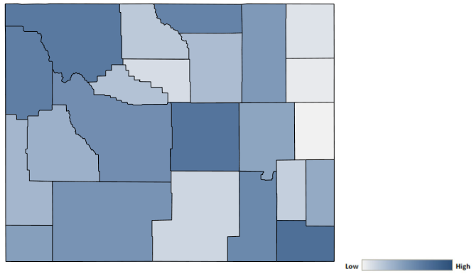 Map of Wyoming counties indicating relative number of complaints from low to high. See attached CSV file for complaint data by jurisdiction.