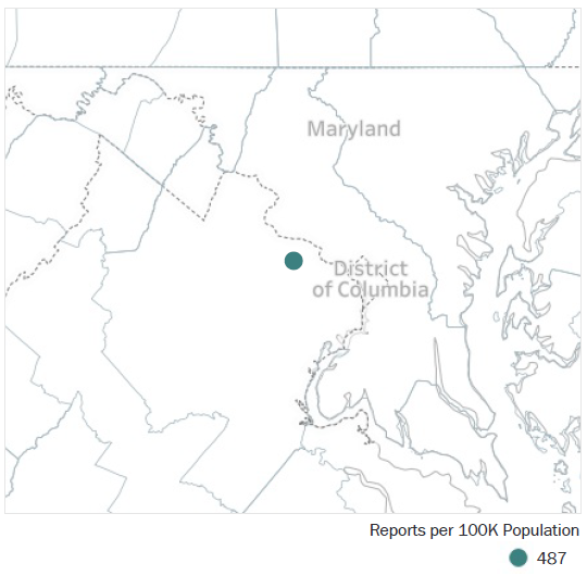 Map of District of Columbia Metropolitan Statistical Area showing number of reports per 100K population, which is 487.  See attached CSV file for report data by MSA.