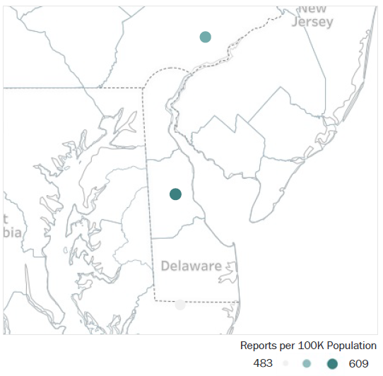 Map of Delaware Metropolitan Statistical Areas showing number of reports per 100K population, ranging from a low of 483 to a high of 609. See attached CSV file for report data by MSA.