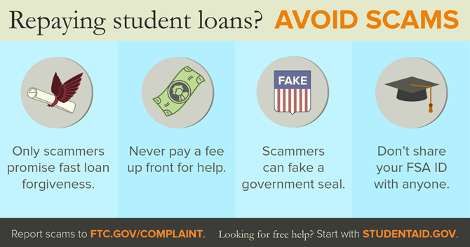 Repaying student loans? Avoid scams. Only scammers promise fast loan forgiveness. Never pay a fee up front for help. Scammers can fake a government seal. Don't share your FSA ID with anyone. Report scams to ftc.gov/complaint. Looking for free help? Start with studentaid.gov.