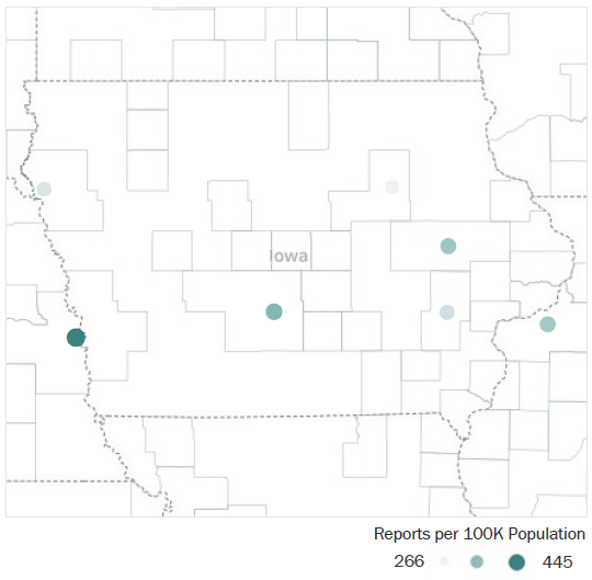 Map of Iowa Metropolitan Statistical Areas showing number of reports per 100K population, ranging from a low of 266 to a high of 445 See attached CSV file for report data by MSA.