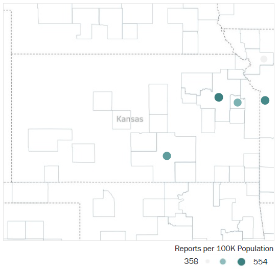 Map of Kansas Metropolitan Statistical Areas showing number of reports per 100K population, ranging from a low of 358 to a high of 554 See attached CSV file for report data by MSA.