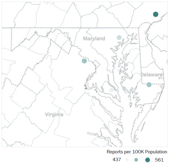 Map of Maryland Metropolitan Statistical Areas showing number of reports per 100K population, ranging from a low of 437 to a high of 561 See attached CSV file for report data by MSA.