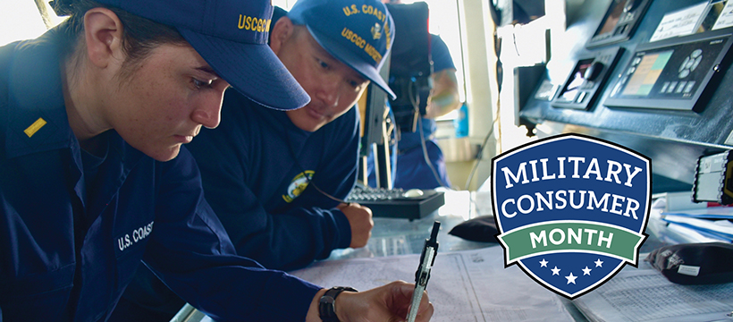 Military Consumer Month logo with two U.S. Coast Guard members looking at a map