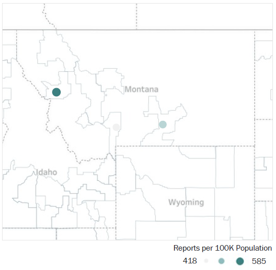 Map of Montana Metropolitan Statistical Areas showing number of reports per 100K population, ranging from a low of 418 to a high of 585 See attached CSV file for report data by MSA.