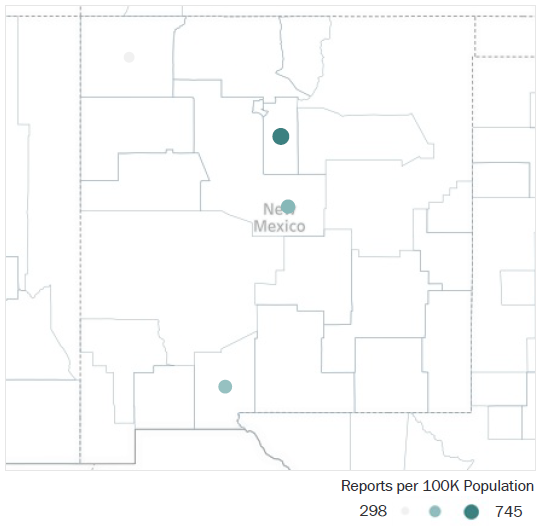 Map of New Mexico Metropolitan Statistical Areas showing number of reports per 100K population, ranging from a low of 298 to a high of 745. See attached CSV file for report data by MSA.