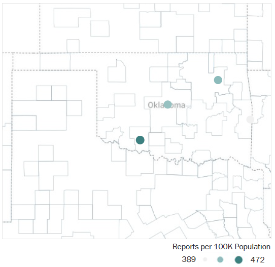 Map of Oklahoma Metropolitan Statistical Areas showing number of reports per 100K population, ranging from a low of 389 to a high of 472. See attached CSV file for report data by MSA.