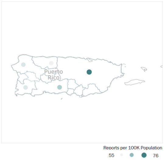 Map of Puerto Rico Metropolitan Statistical Areas showing number of reports per 100K population, ranging from a low of 55 to a high of 76. See attached CSV file for report data by MSA.