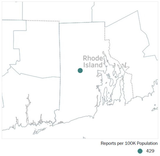 Map of Rhode Island Metropolitan Statistical Area showing number of reports per 100K population, which is 429. See attached CSV file for report data by MSA.