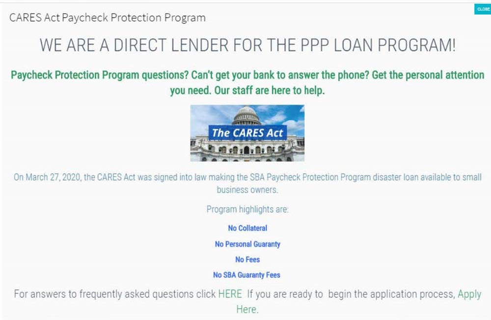 """Screenshot from defendants' website - """"We are a direct lender for the PPP Loan Program"""