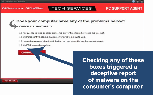 PC Health Check software screenshot.  Checking any of the four boxes triggered a deceptive report of malware on the consumer's computer.