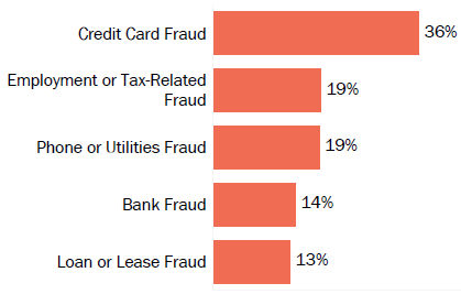 Graph of consumer reports of identity theft in Georgia by type in 2017. The type with the most reports was credit card fraud with 36 percent of reports, employment or tax-related fraud with 19 percent, phone or utilities fraud with 19 percent, bank fraud with 14 percent, and loan or lease fraud with 13 percent.