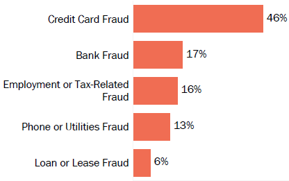 Graph of consumer reports of identity theft in Minnesota by type in 2017. The type with the most reports was credit card fraud with 46 percent of reports, bank fraud with 17 percent, employment or tax-related fraud with 16 percent, phone or utilities fraud with 13 percent, and loan or lease fraud with 6 percent.