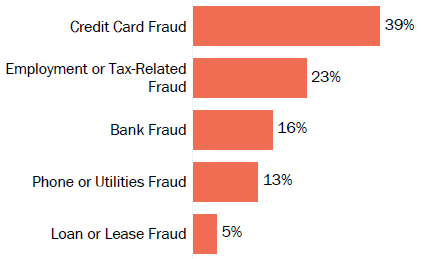 Graph of consumer reports of identity theft in New Hampshire by type in 2017. The type with the most reports was credit card fraud with 39 percent of reports, employment or tax-related fraud with 23 percent, bank fraud with 16 percent, phone or utilities fraud with 13 percent, and loan or lease fraud with 5 percent.