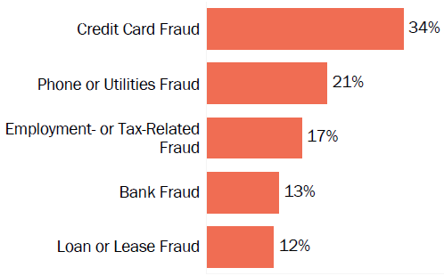Graph of consumer reports of identity theft in South Carolina by type in 2017. The type with the most reports was credit card fraud with 34 percent of reports, phone or utilities fraud with 21 percent, employment or tax-related fraud with 17 percent, bank fraud with 13 percent, and loan or lease fraud with 12 percent.
