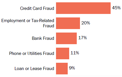 Graph of consumer reports of identity theft in South Dakota by type in 2017. The type with the most reports was credit card fraud with 45 percent of reports, employment or tax-related fraud with 20 percent, bank fraud with 17 percent, phone or utilities fraud with 11 percent, and loan or lease fraud with 9 percent.