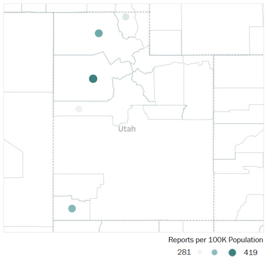 Map of Utah Metropolitan Statistical Areas showing number of reports per 100K population, ranging from a low of 281 to a high of 419. See attached CSV file for report data by MSA.